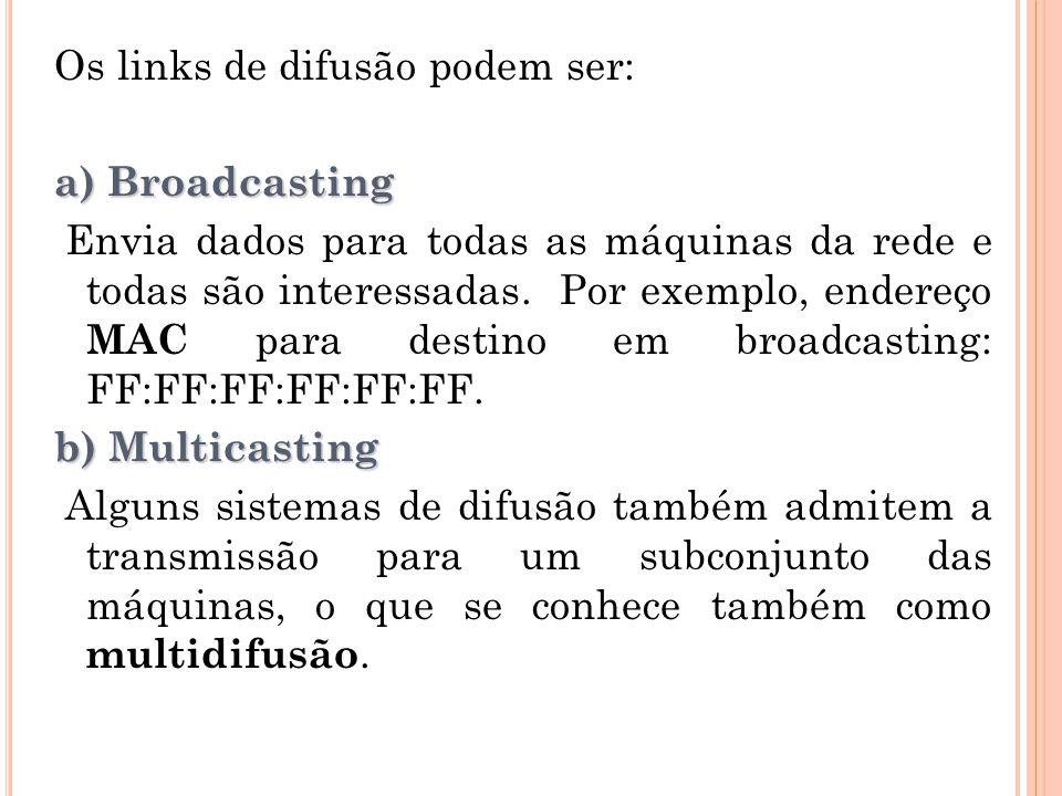 Os links de difusão podem ser: a) Broadcasting Envia dados para todas as máquinas da rede e todas são interessadas.