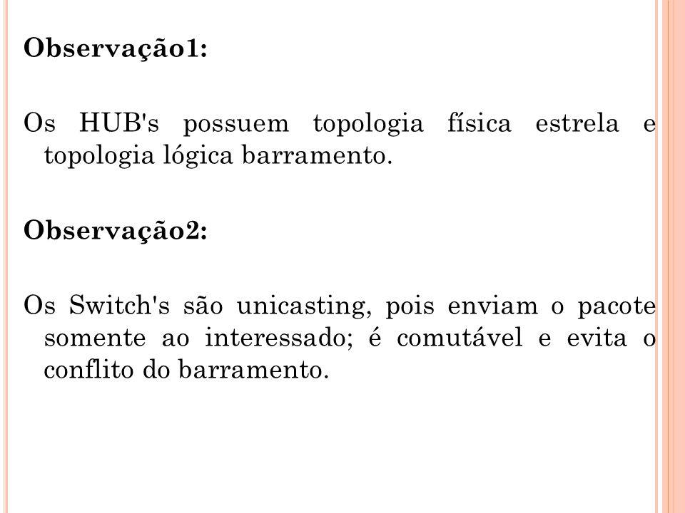 Observação1: Os HUB s possuem topologia física estrela e topologia lógica barramento.