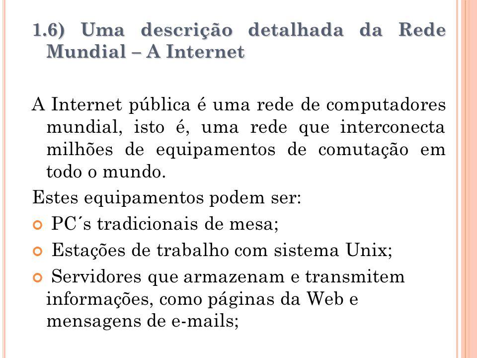 1.6) Uma descrição detalhada da Rede Mundial – A Internet