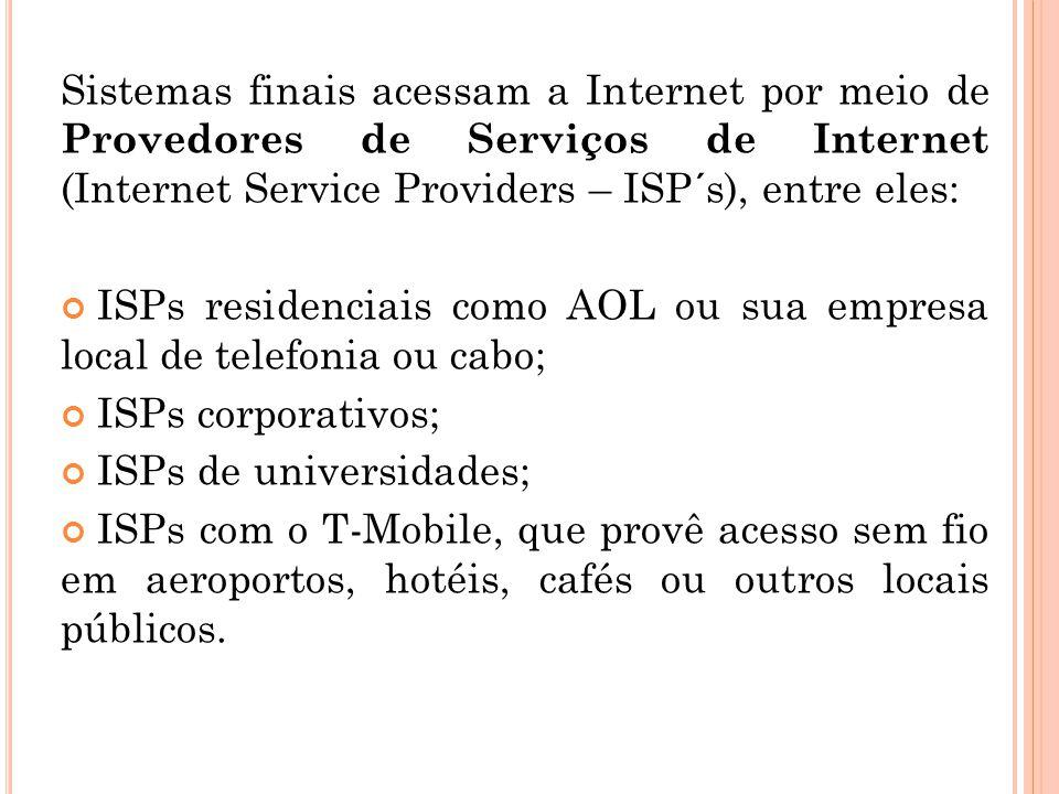 Sistemas finais acessam a Internet por meio de Provedores de Serviços de Internet (Internet Service Providers – ISP´s), entre eles: