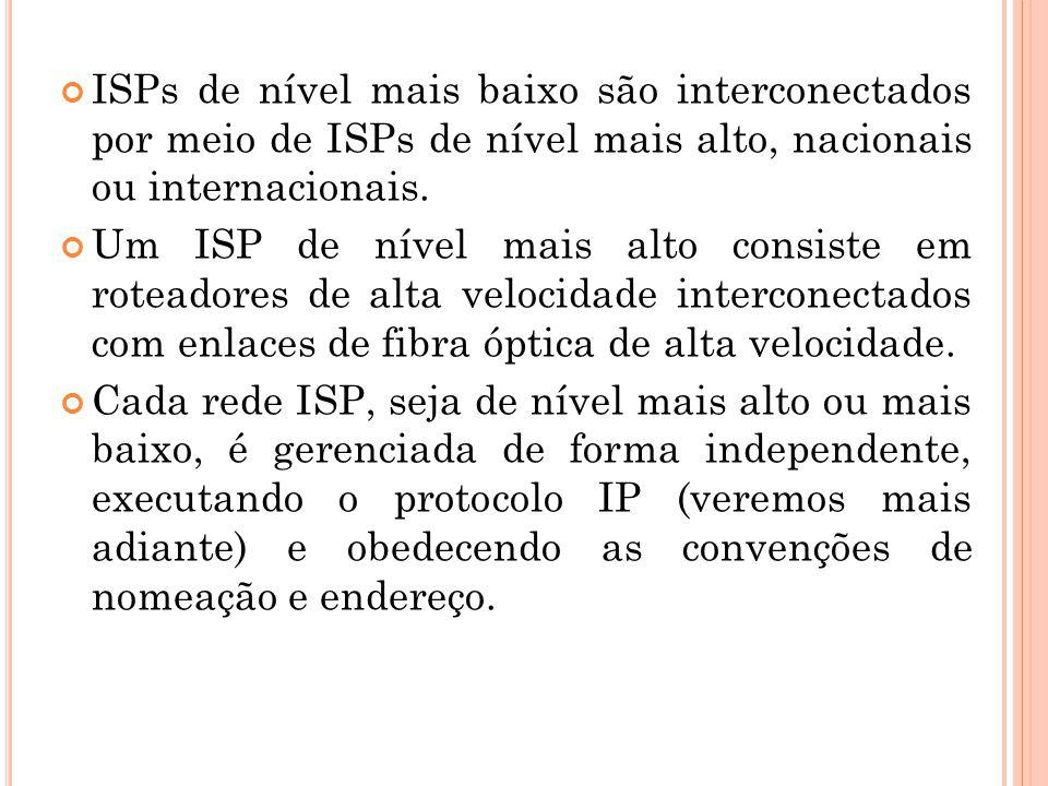 ISPs de nível mais baixo são interconectados por meio de ISPs de nível mais alto, nacionais ou internacionais.