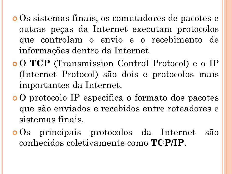 Os sistemas finais, os comutadores de pacotes e outras peças da Internet executam protocolos que controlam o envio e o recebimento de informações dentro da Internet.