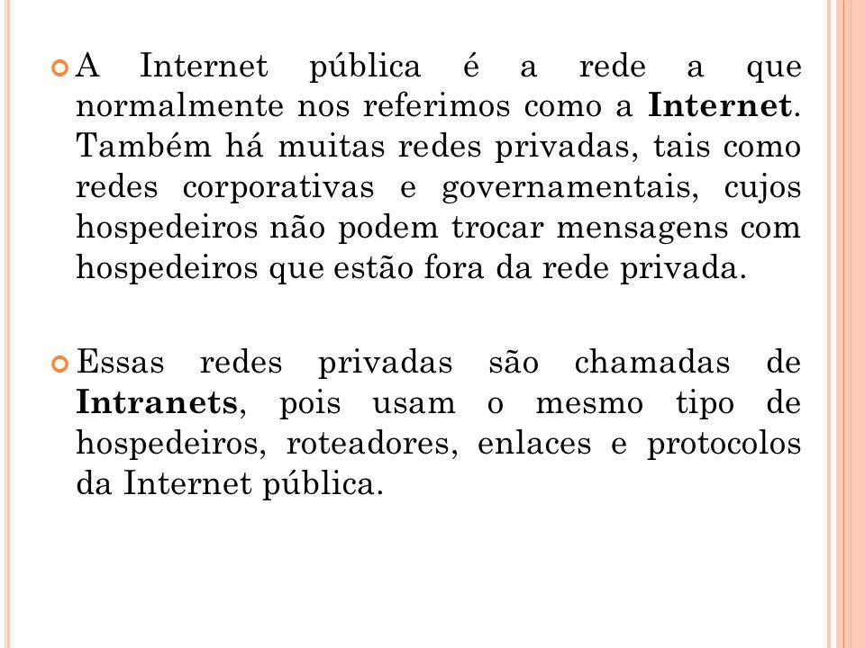 A Internet pública é a rede a que normalmente nos referimos como a Internet. Também há muitas redes privadas, tais como redes corporativas e governamentais, cujos hospedeiros não podem trocar mensagens com hospedeiros que estão fora da rede privada.