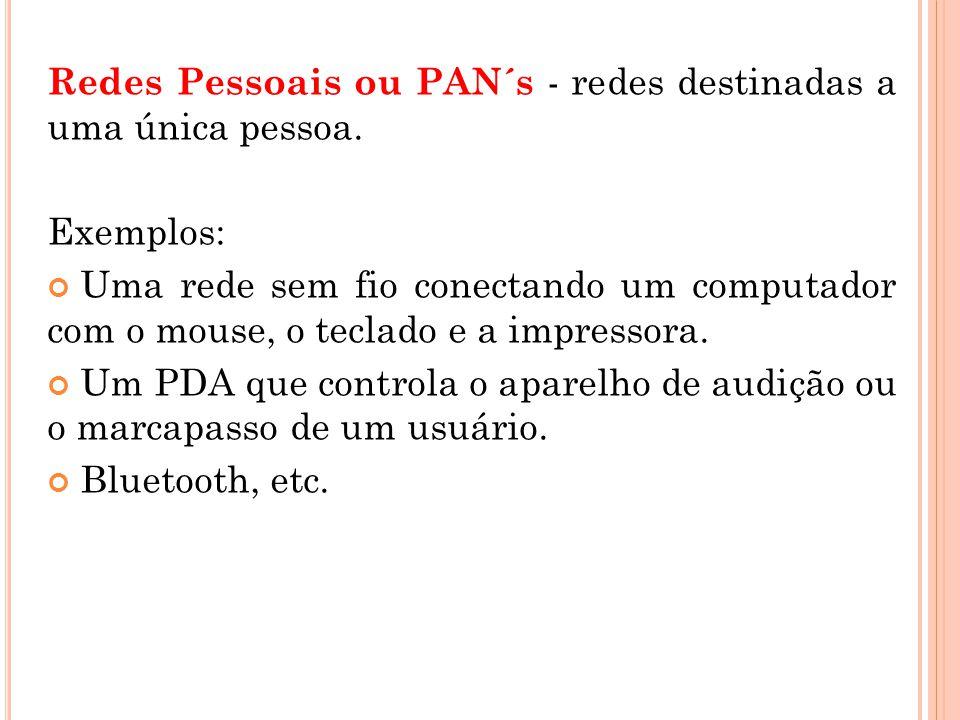 Redes Pessoais ou PAN´s - redes destinadas a uma única pessoa.