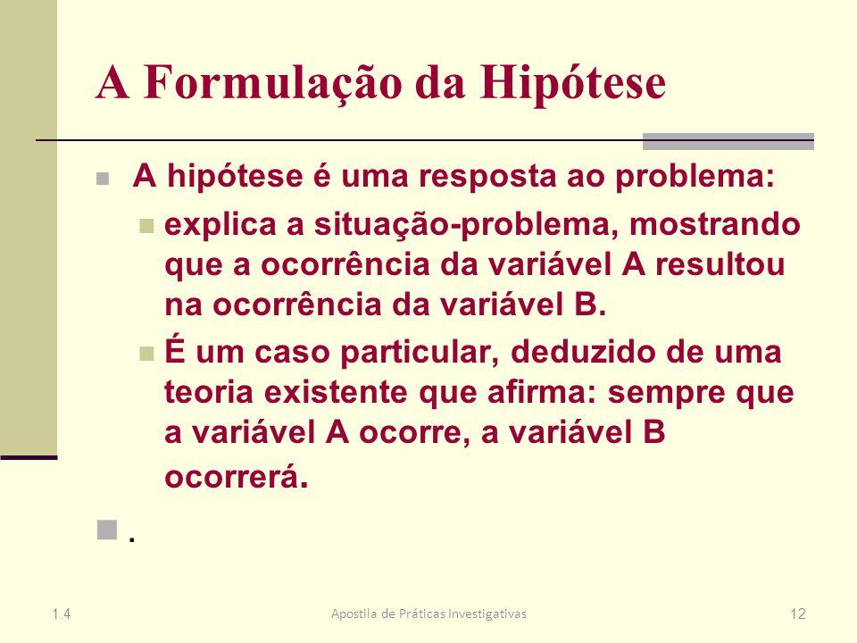 A Formulação da Hipótese