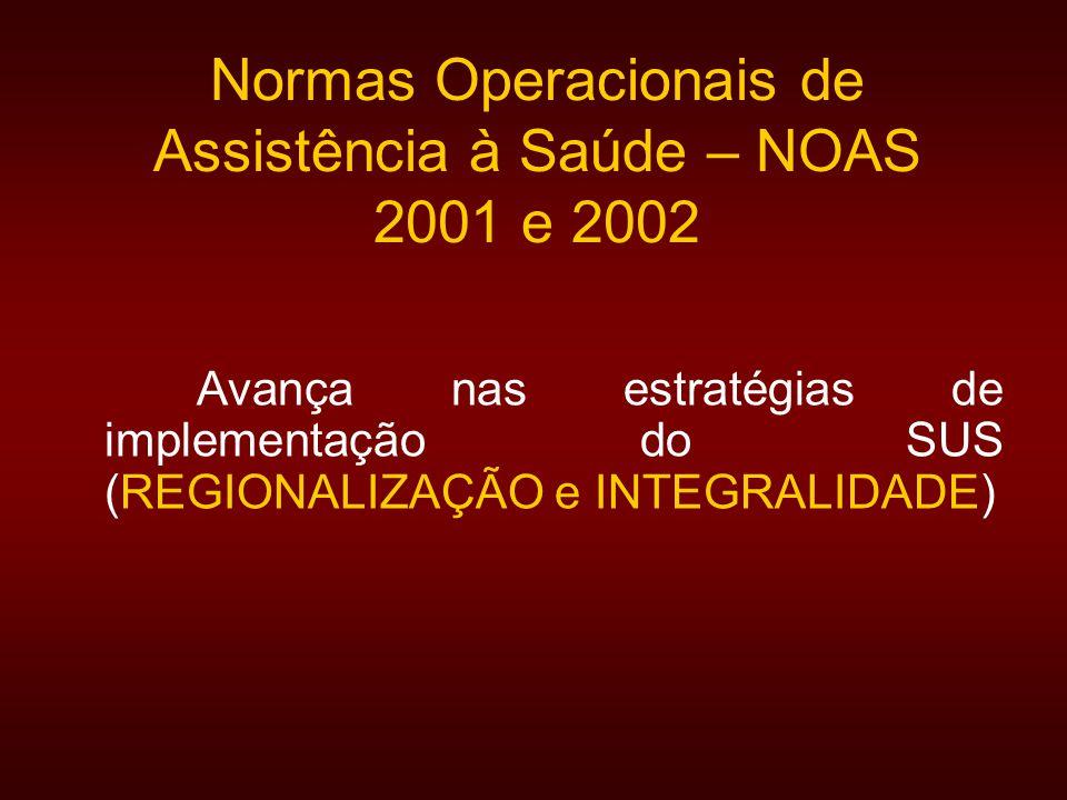 Normas Operacionais de Assistência à Saúde – NOAS 2001 e 2002