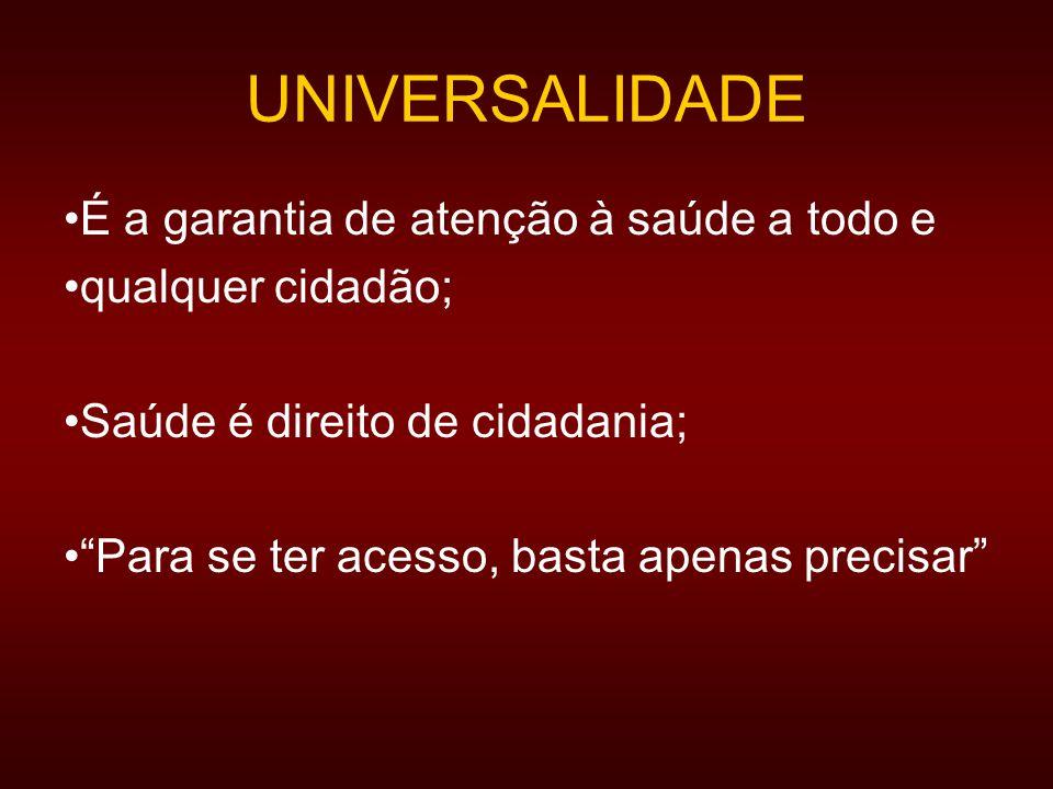 UNIVERSALIDADE É a garantia de atenção à saúde a todo e