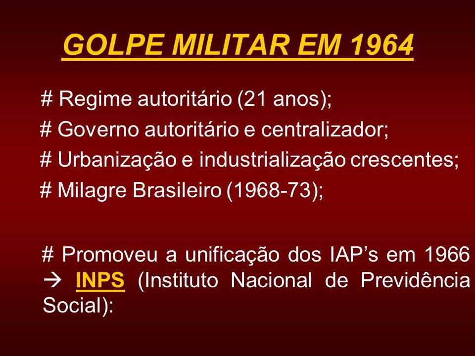 GOLPE MILITAR EM 1964 # Regime autoritário (21 anos);