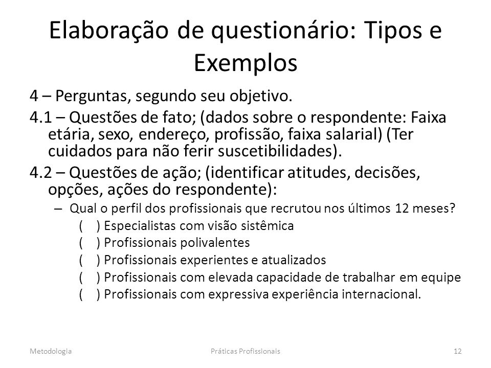 Elaboração de questionário: Tipos e Exemplos