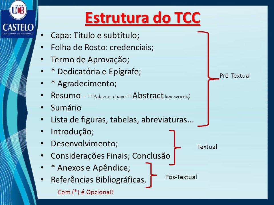 Estrutura do TCC Capa: Título e subtítulo;