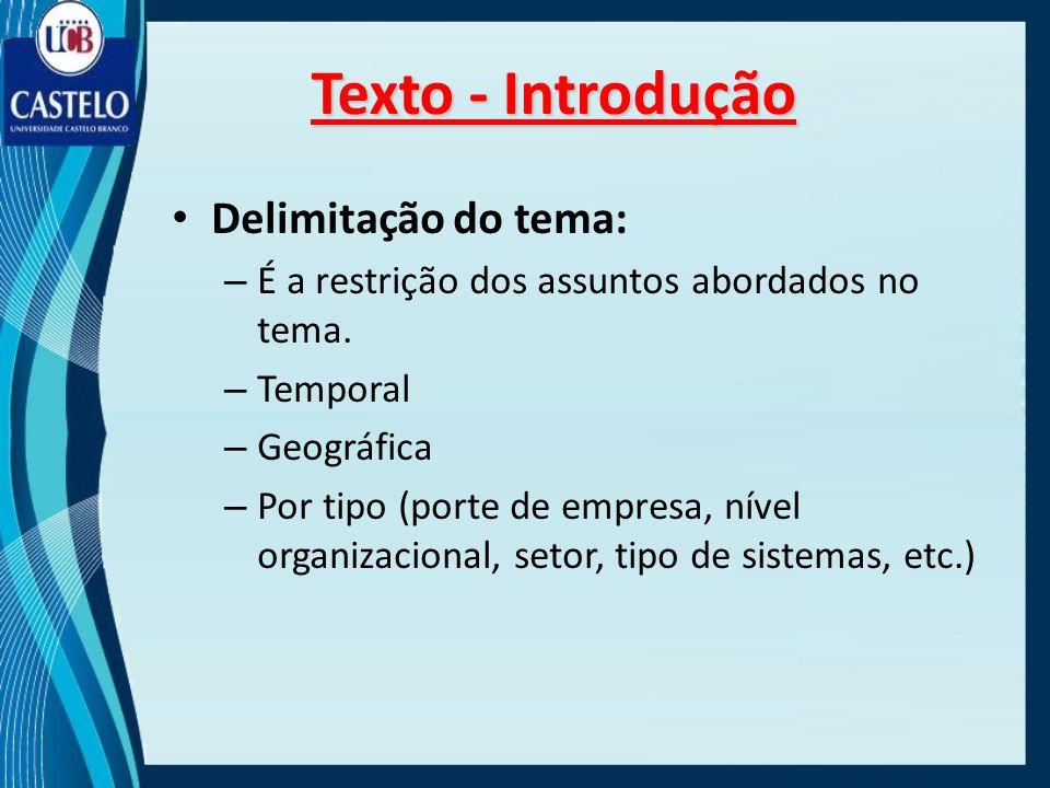 Texto - Introdução Delimitação do tema: