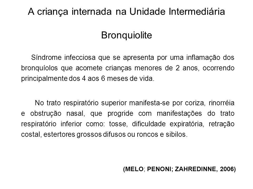 A criança internada na Unidade Intermediária Bronquiolite