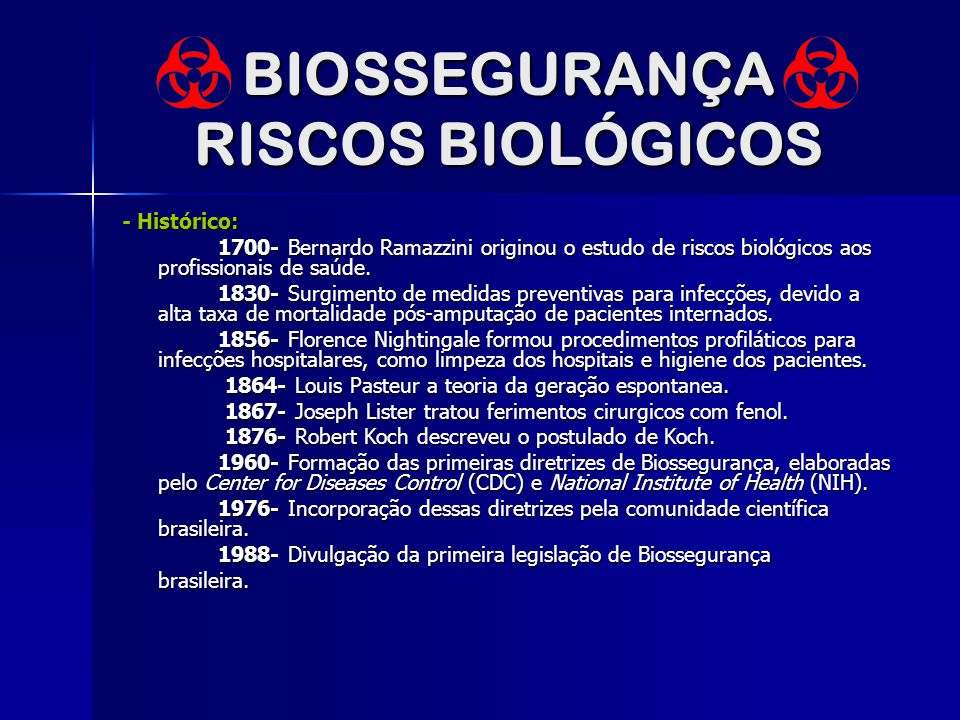 BIOSSEGURANÇA RISCOS BIOLÓGICOS