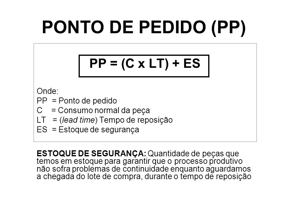 PONTO DE PEDIDO (PP) PP = (C x LT) + ES Onde: PP = Ponto de pedido