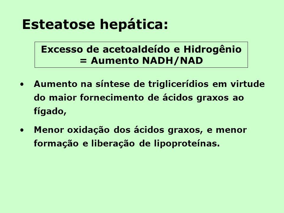 Excesso de acetoaldeído e Hidrogênio = Aumento NADH/NAD