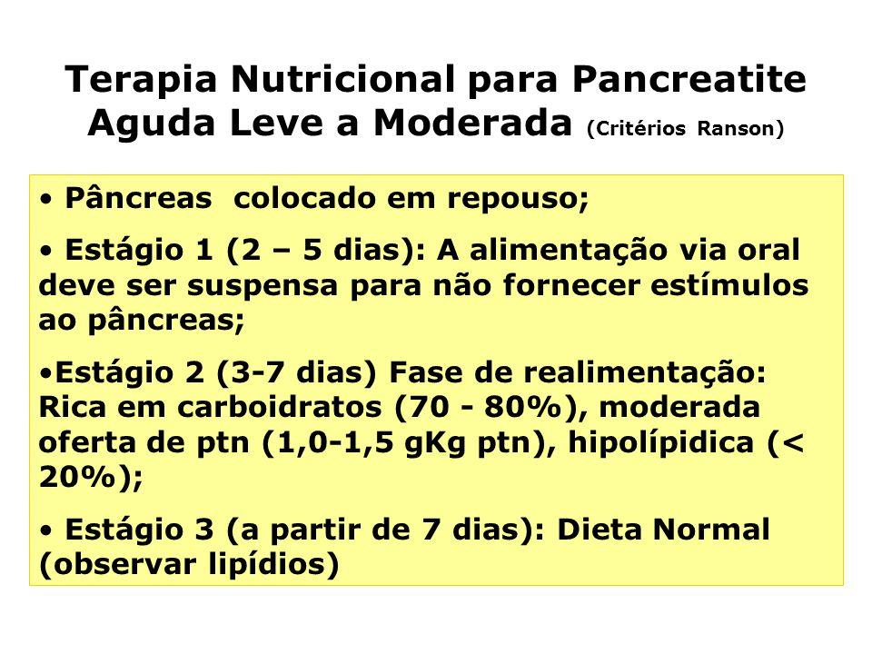 Terapia Nutricional para Pancreatite Aguda Leve a Moderada (Critérios Ranson)