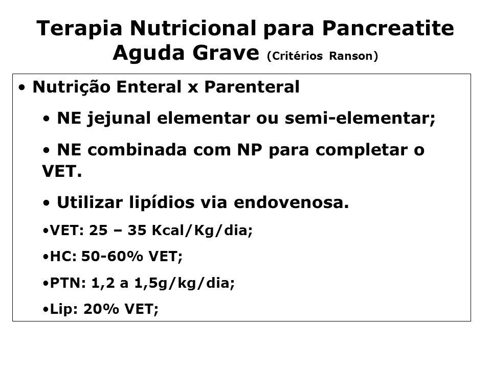 Terapia Nutricional para Pancreatite Aguda Grave (Critérios Ranson)