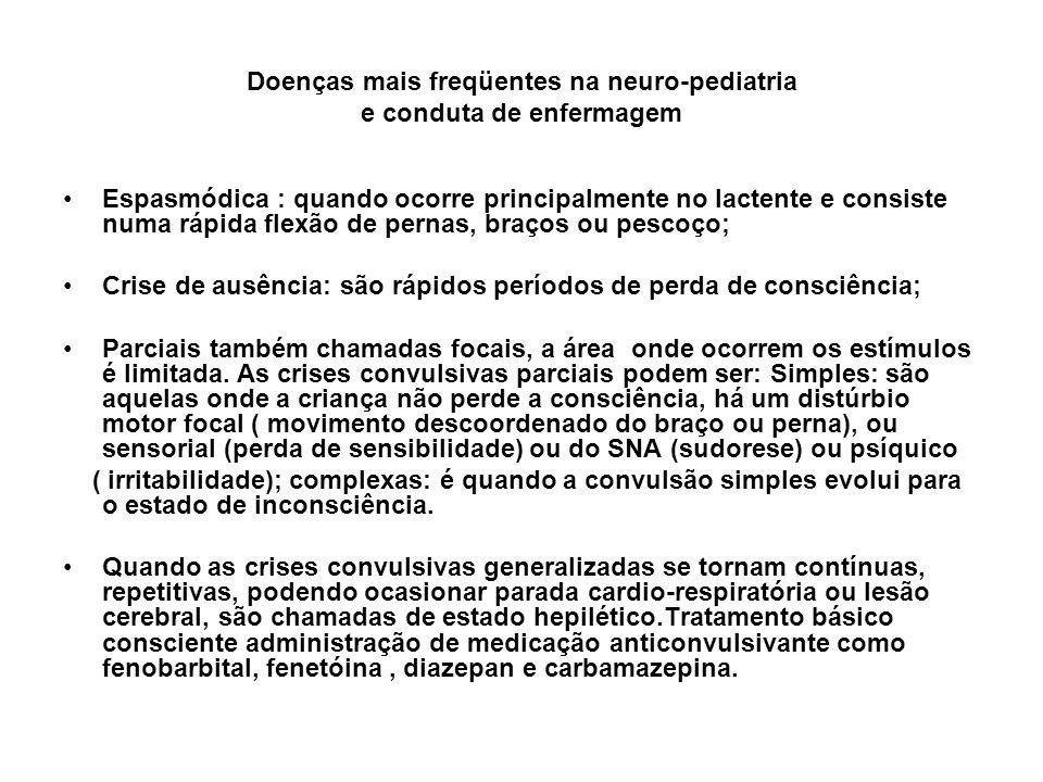 Doenças mais freqüentes na neuro-pediatria e conduta de enfermagem