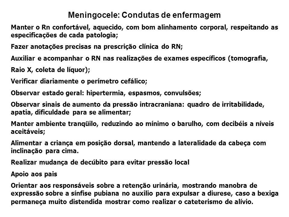 Meningocele: Condutas de enfermagem