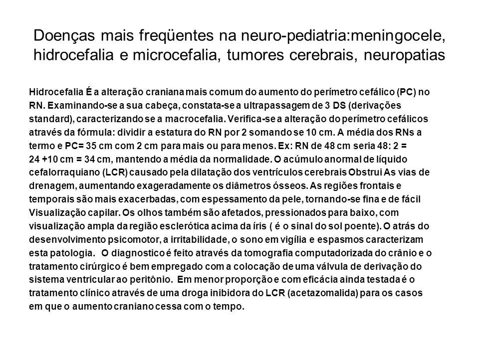 Doenças mais freqüentes na neuro-pediatria:meningocele, hidrocefalia e microcefalia, tumores cerebrais, neuropatias