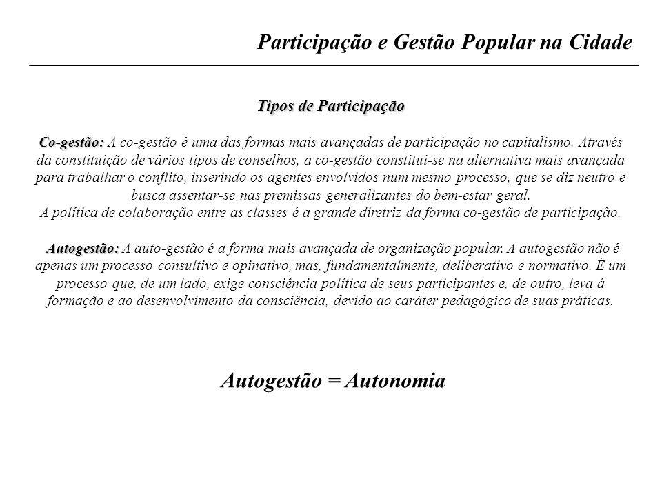 Autogestão = Autonomia