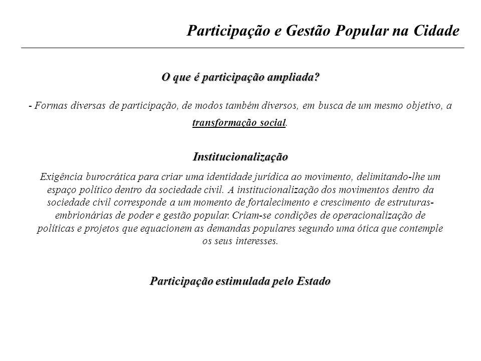 O que é participação ampliada Participação estimulada pelo Estado