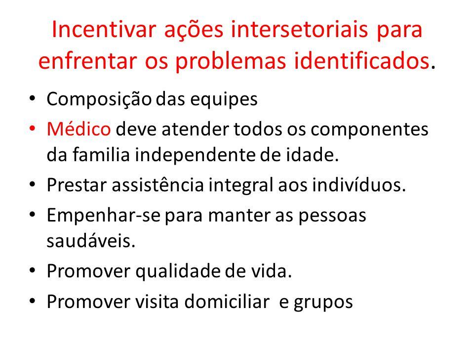 Incentivar ações intersetoriais para enfrentar os problemas identificados.