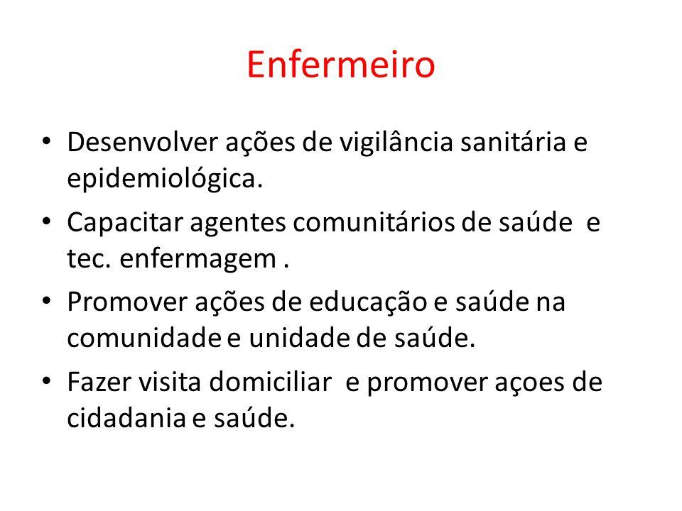 Enfermeiro Desenvolver ações de vigilância sanitária e epidemiológica.