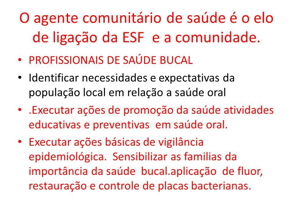 O agente comunitário de saúde é o elo de ligação da ESF e a comunidade.