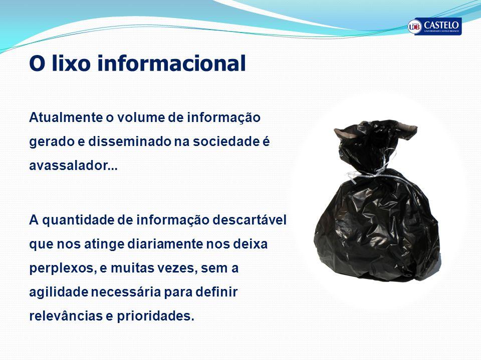 O lixo informacional Atualmente o volume de informação gerado e disseminado na sociedade é avassalador...