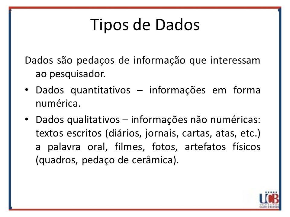 Tipos de Dados Dados são pedaços de informação que interessam ao pesquisador. Dados quantitativos – informações em forma numérica.