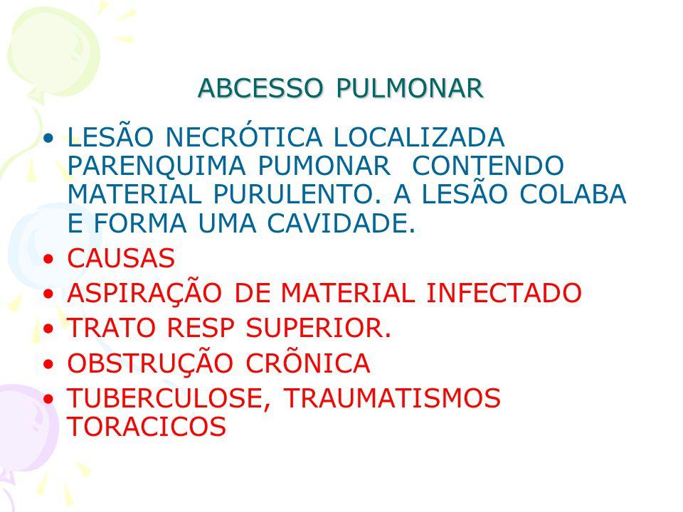 ABCESSO PULMONAR LESÃO NECRÓTICA LOCALIZADA PARENQUIMA PUMONAR CONTENDO MATERIAL PURULENTO. A LESÃO COLABA E FORMA UMA CAVIDADE.