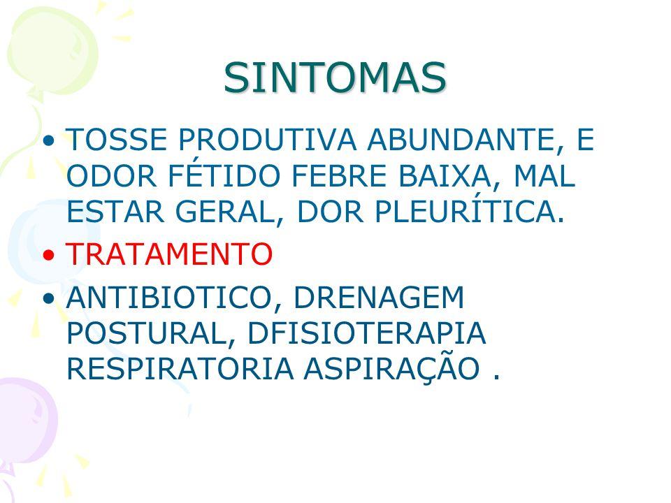 SINTOMAS TOSSE PRODUTIVA ABUNDANTE, E ODOR FÉTIDO FEBRE BAIXA, MAL ESTAR GERAL, DOR PLEURÍTICA. TRATAMENTO.