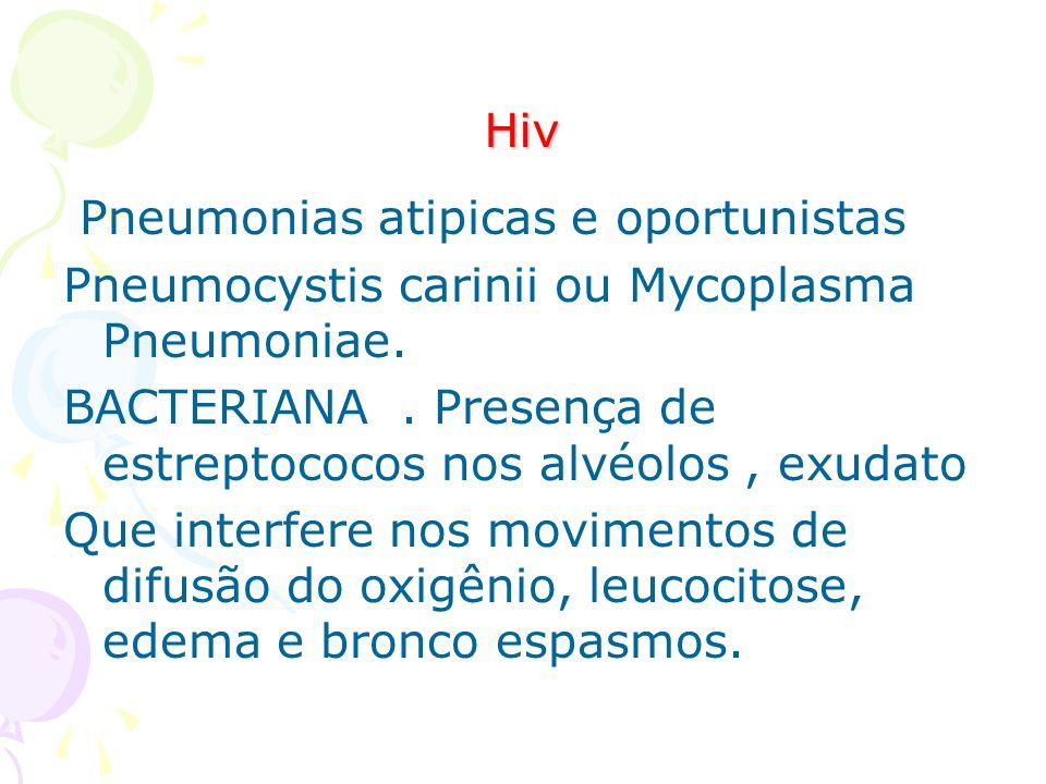 Hiv Pneumonias atipicas e oportunistas. Pneumocystis carinii ou Mycoplasma Pneumoniae.