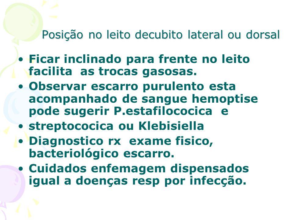 Posição no leito decubito lateral ou dorsal