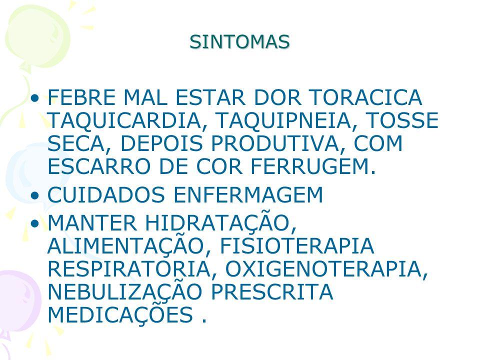 SINTOMAS FEBRE MAL ESTAR DOR TORACICA TAQUICARDIA, TAQUIPNEIA, TOSSE SECA, DEPOIS PRODUTIVA, COM ESCARRO DE COR FERRUGEM.