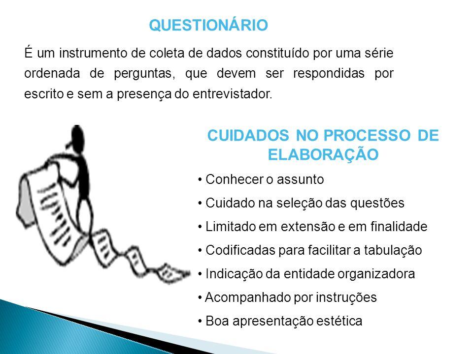 CUIDADOS NO PROCESSO DE ELABORAÇÃO