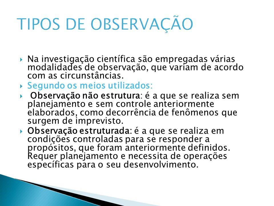 TIPOS DE OBSERVAÇÃO Na investigação científica são empregadas várias modalidades de observação, que variam de acordo com as circunstâncias.