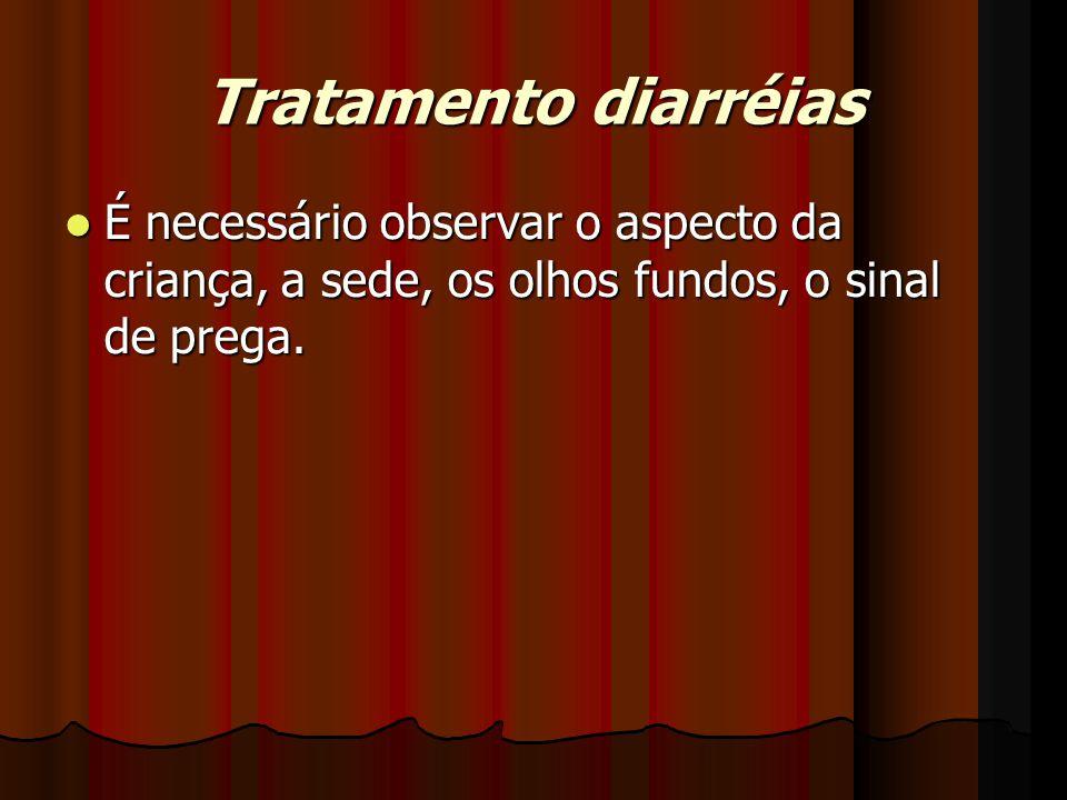 Tratamento diarréias É necessário observar o aspecto da criança, a sede, os olhos fundos, o sinal de prega.
