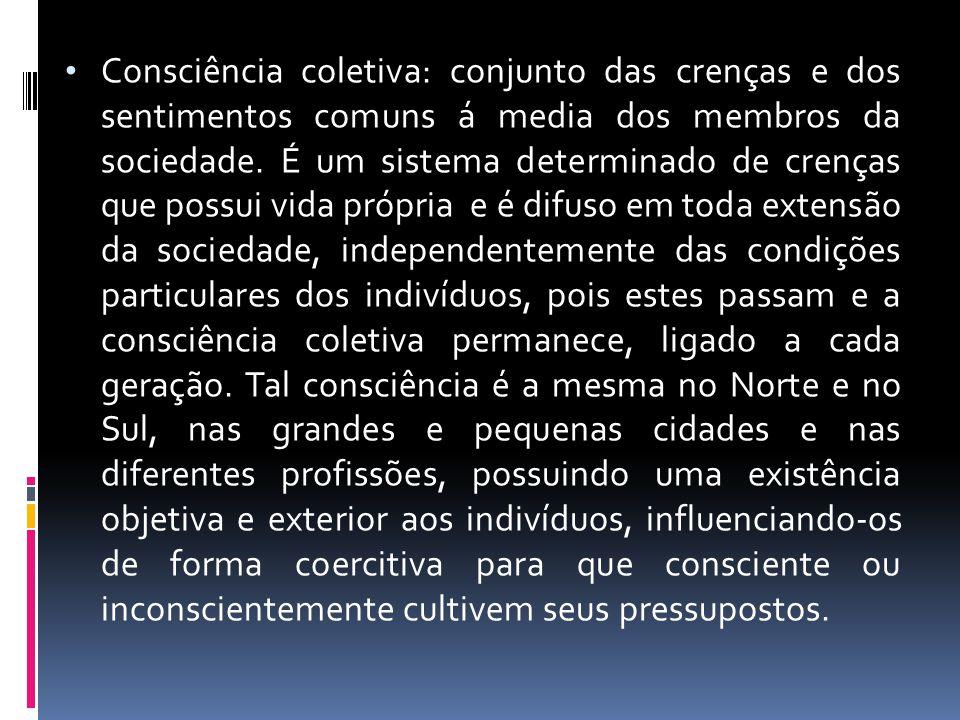 Consciência coletiva: conjunto das crenças e dos sentimentos comuns á media dos membros da sociedade.