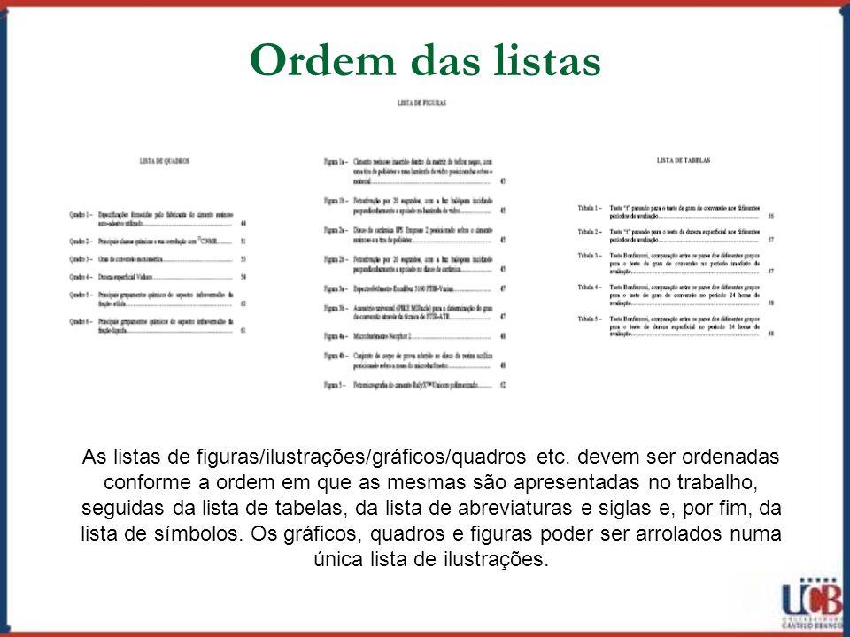 Ordem das listas