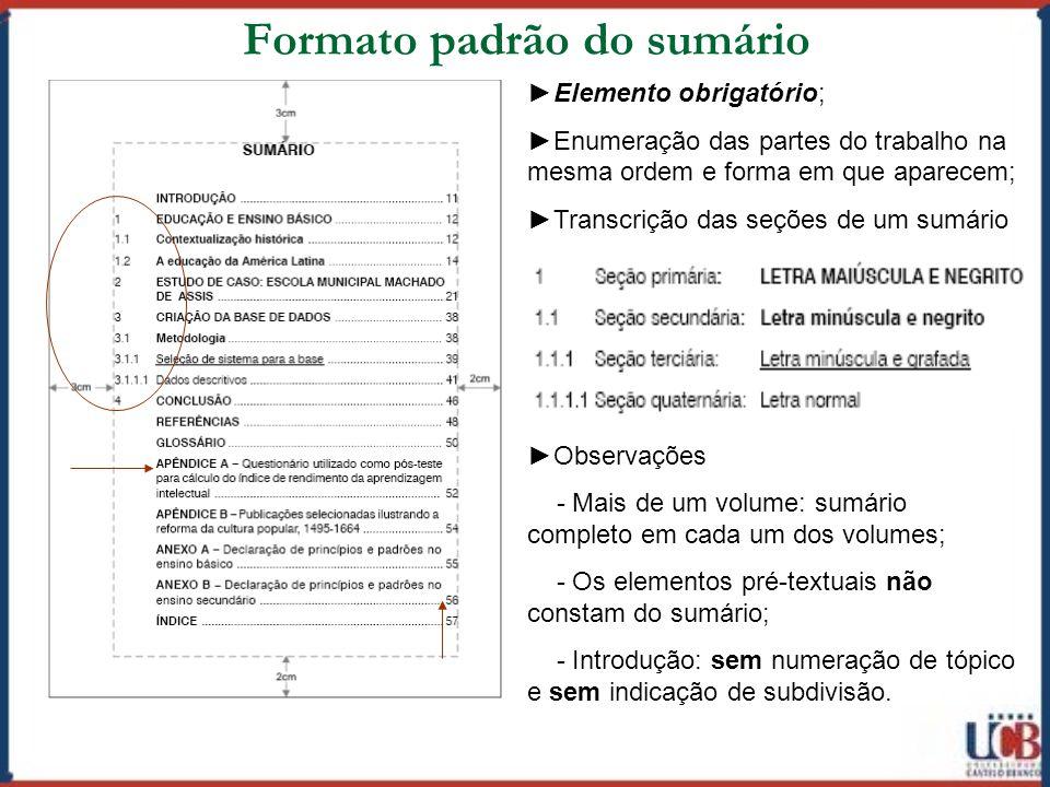 Formato padrão do sumário
