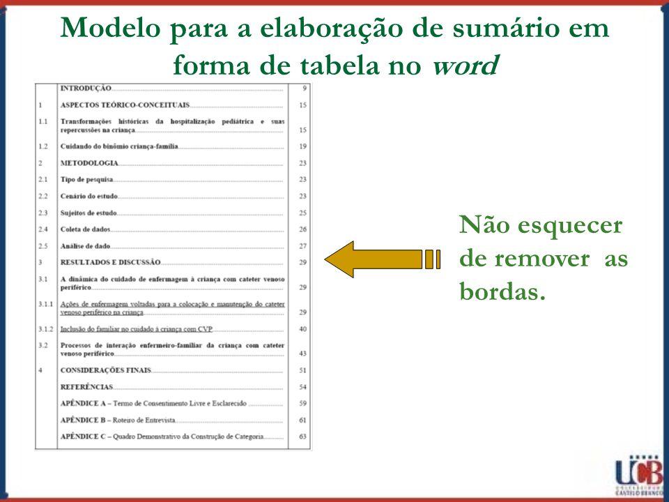 Modelo para a elaboração de sumário em forma de tabela no word