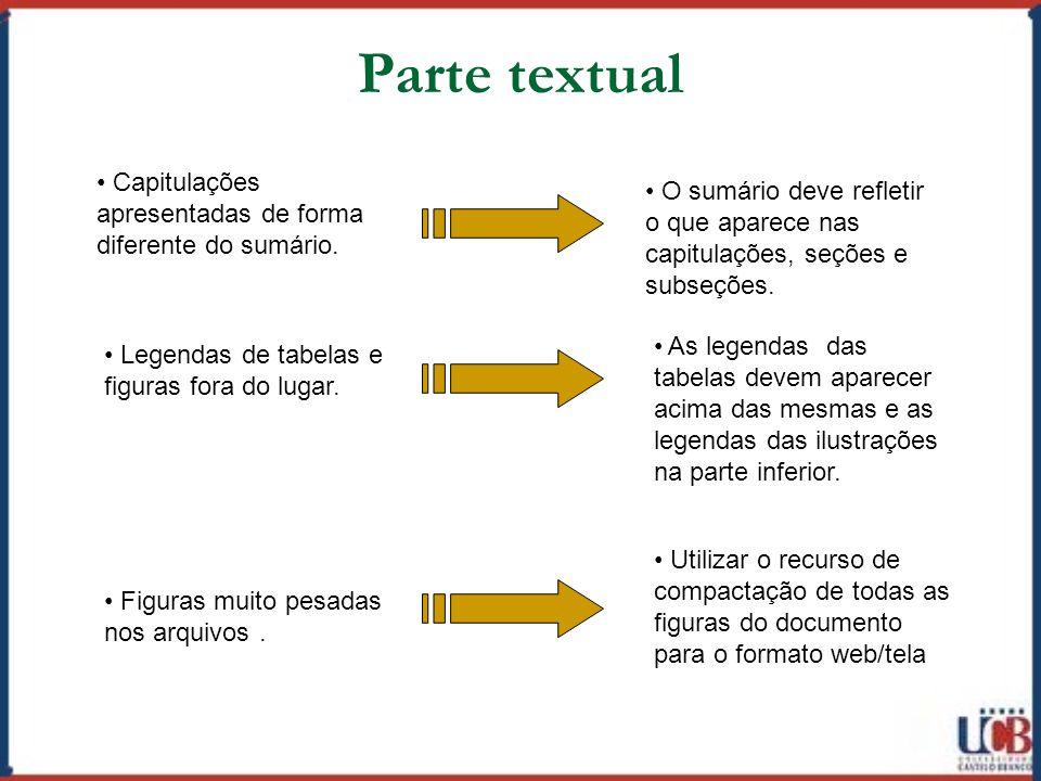 Parte textual Capitulações apresentadas de forma diferente do sumário.
