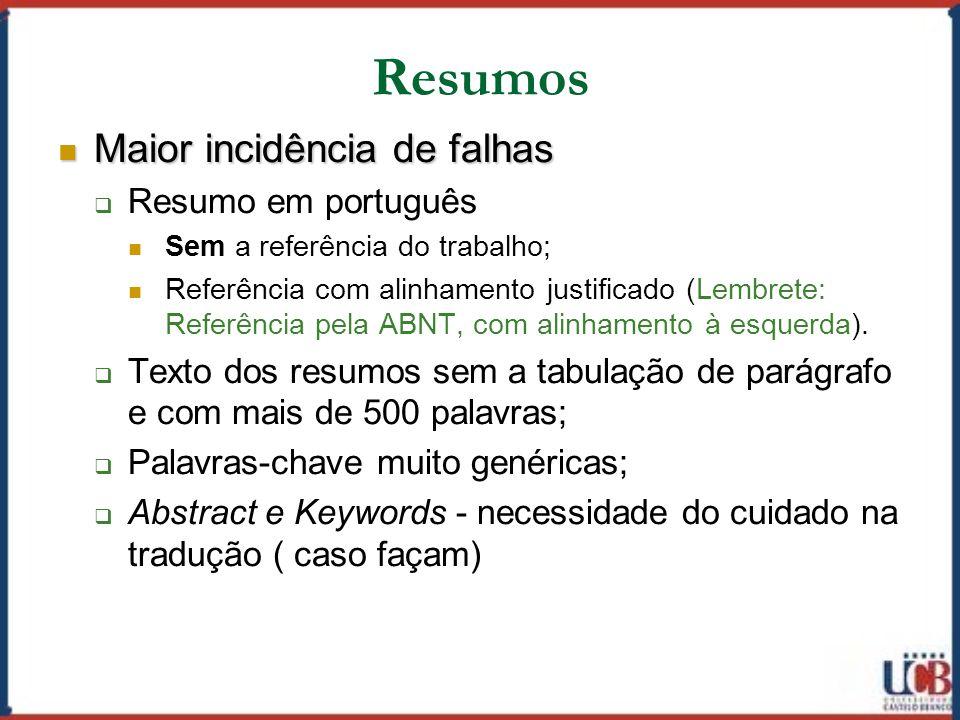 Resumos Maior incidência de falhas Resumo em português