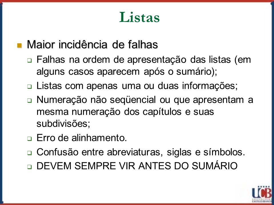 Listas Maior incidência de falhas