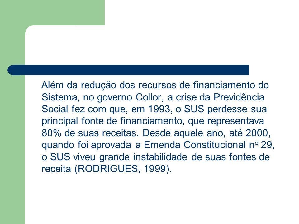 Além da redução dos recursos de financiamento do Sistema, no governo Collor, a crise da Previdência Social fez com que, em 1993, o SUS perdesse sua principal fonte de financiamento, que representava 80% de suas receitas.