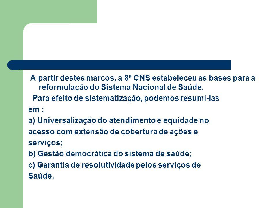 A partir destes marcos, a 8ª CNS estabeleceu as bases para a reformulação do Sistema Nacional de Saúde.