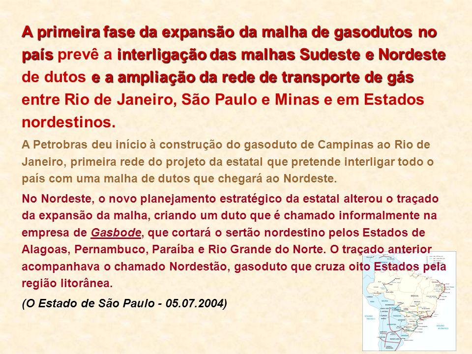 A primeira fase da expansão da malha de gasodutos no país prevê a interligação das malhas Sudeste e Nordeste de dutos e a ampliação da rede de transporte de gás entre Rio de Janeiro, São Paulo e Minas e em Estados nordestinos.