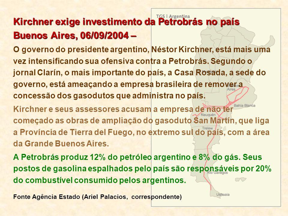 Kirchner exige investimento da Petrobrás no país Buenos Aires, 06/09/2004 –